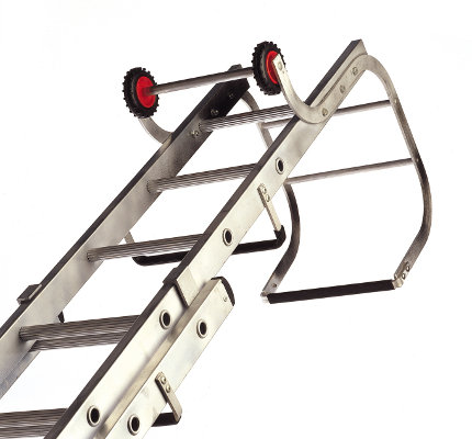 Two section extension trade roof ladder