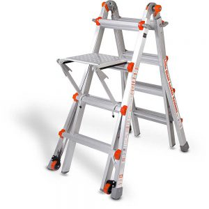 Little Giant ladder with wheel kit and work platform
